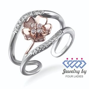Solid 14K Multi-Tone Gold Floral Diamond Ring